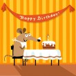 Birthday greeting card mouse and cake — Stock Vector