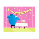 Pastel y elefant tarjeta de felicitación de cumpleaños — Vector de stock