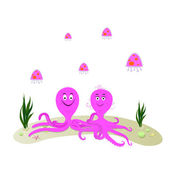 Funny cartoon octopus with girl friend and jellyfish — Stock Vector