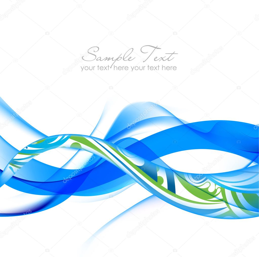 Blue and green Abstract fume waves  Stock Vector #6404515