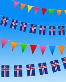 Iceland Bunting flags — Stock Vector