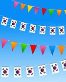 Banderas del empavesado de corea del sur — Vector de stock