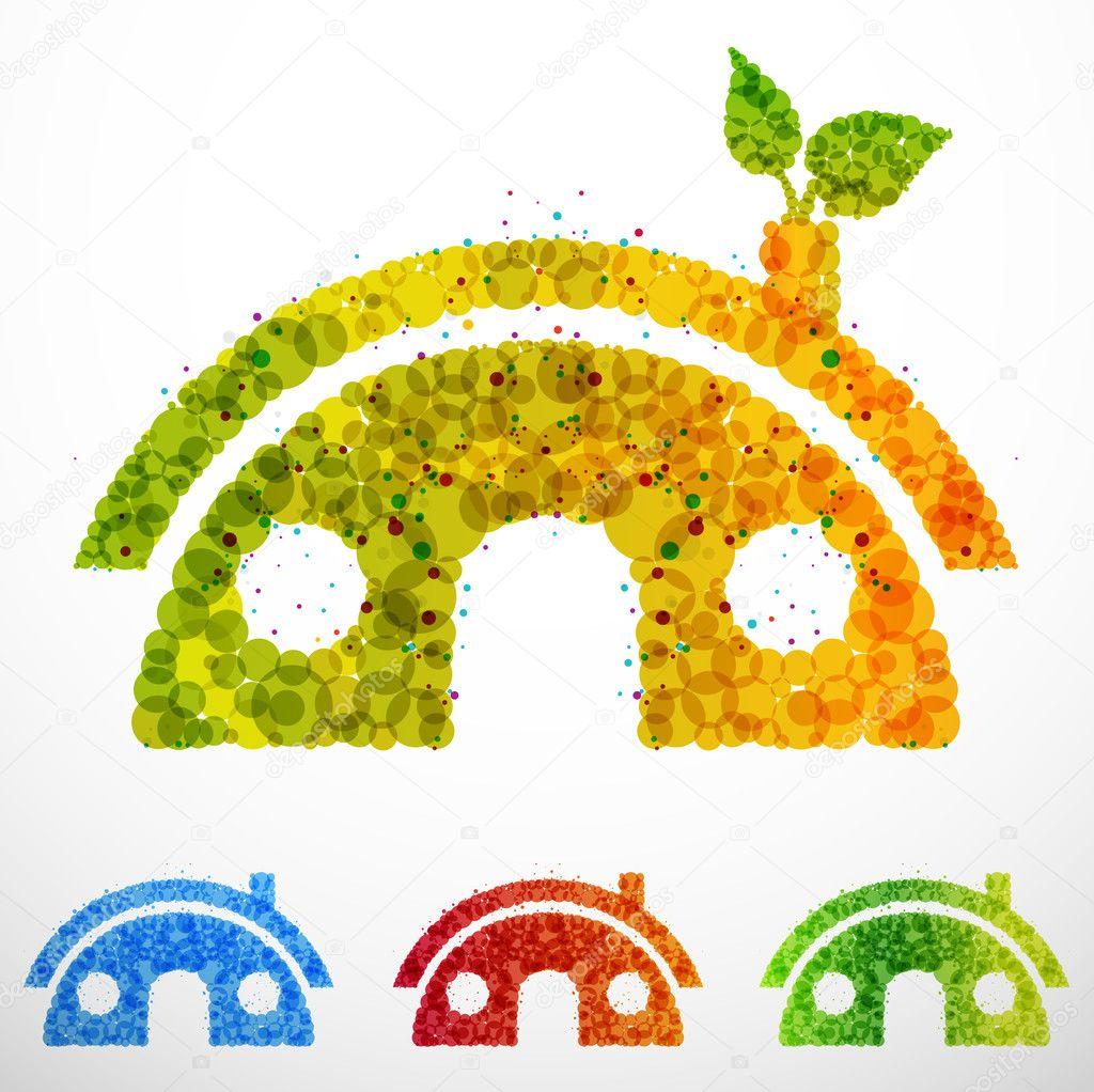 不同颜色的生态房子矢量图