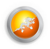 Bhutan Flag Button — Stockvektor