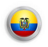 Ekvador bayrak düğmesini — Stok Vektör
