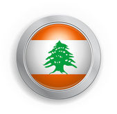 Lebanon Flag Button — Stock Vector