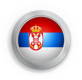 Serbia Flag Button — Stock Vector