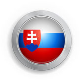 Slovak Republic Flag Button — Stock Vector