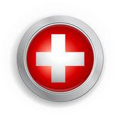 Pulsante di bandiera confederazione svizzera — Vettoriale Stock