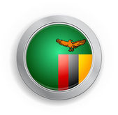 Zambia Flag Button — Stock Vector