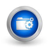 3D Blue Button - Folder — Stock Vector