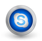 3D Blue Button - Skype — Stock Vector