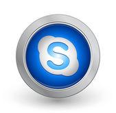 3D Blue Button - Skype — Stock Vector
