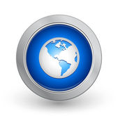 3D Blue Button - World — Stock Vector