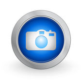 3D Blue Button - Camera — Stock Vector
