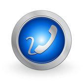 3D Blue Button - Contact — Stock Vector