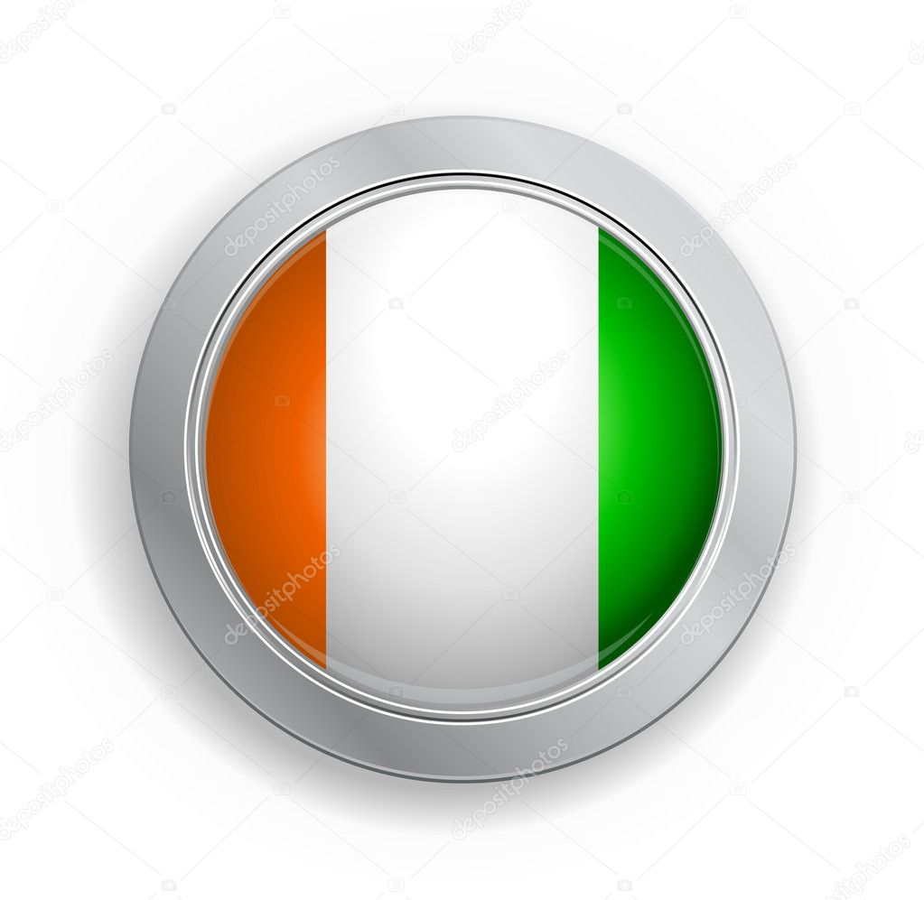 Glassy Web Button with the flag of Republic of Côte d'Ivoire — Stock Vector #6536592