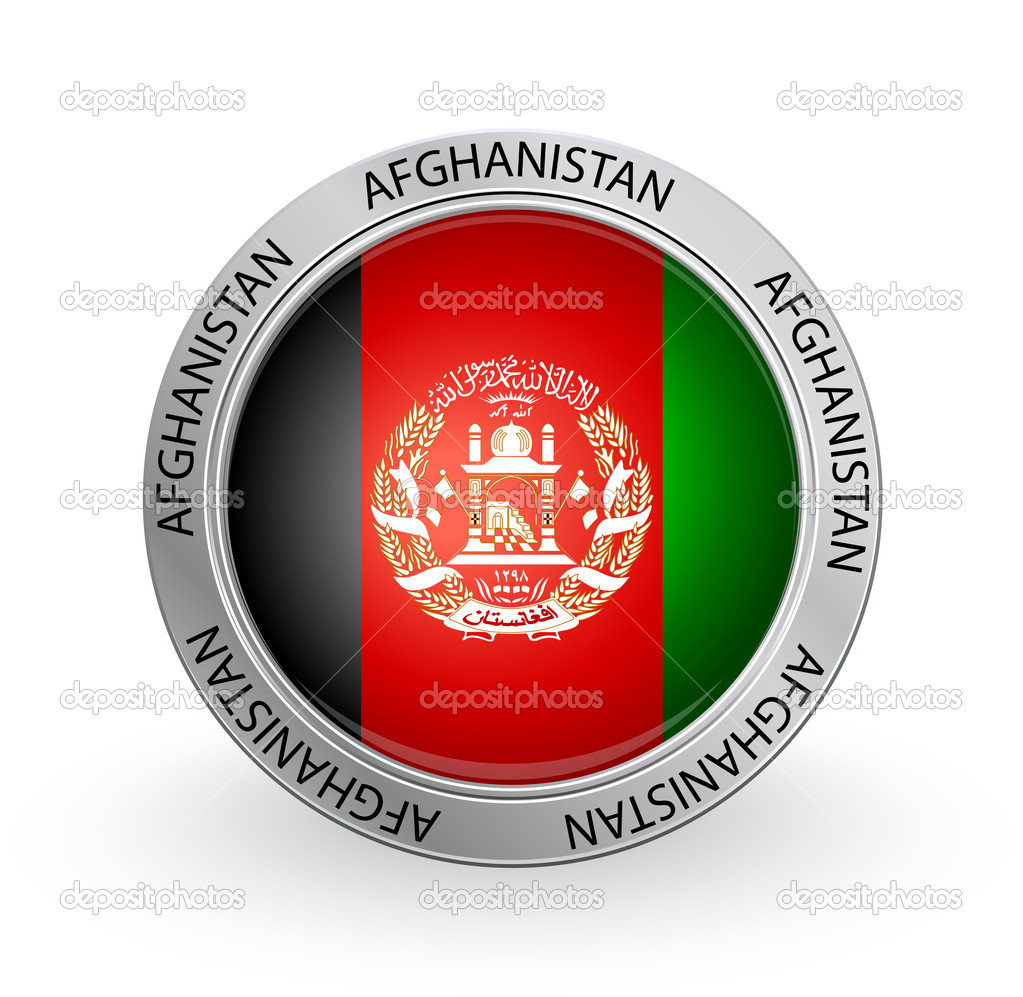 Badge  Afghanistan Flag Stock Illustration