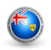 Badge - Flag of British Overseas Territory of the Turks and Caicos Islands — Stock Vector
