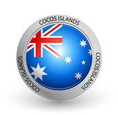 Badge - Cocos Islands flag — Stock Vector