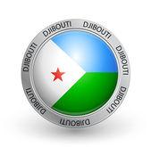 Badge - Djibouti flag — Stock Vector