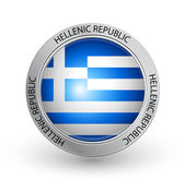 Badge - Flag of Hellenic Republic — Stock Vector