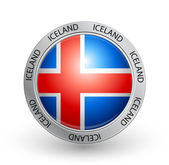 Badge - Iceland flag — Stock Vector