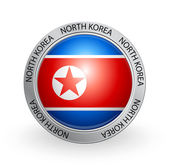 Badge - North Korea flag — Stock Vector