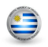 Badge - Flag of Oriental Republic of Uruguay — Stock Vector