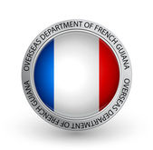 Badge - Flag of Overseas Department of French Guiana — Stock Vector