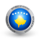 Badge - Flag of Republic of Kosovo — Stock Vector