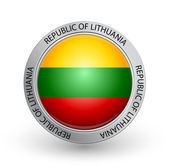 Badge - Flag of Republic of Lithuania — Stock Vector