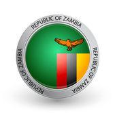 Distintivo - bandiera della Repubblica dello zambia — Vettoriale Stock