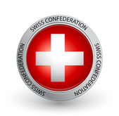 Badge - Flag of Swiss Confederation — Stock Vector