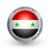 Badge - Flag of Syrian Arab Republic — Stock Vector