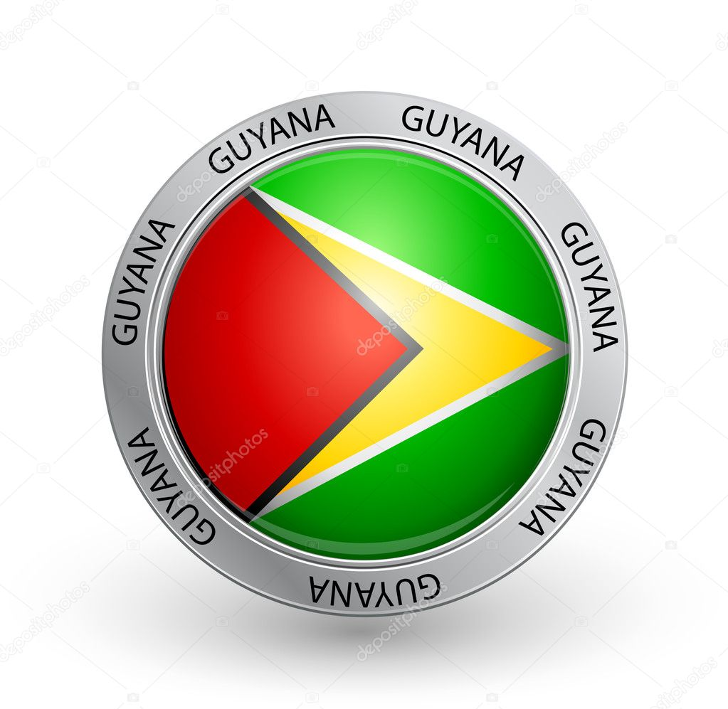 Vector illustration of a badge with the Guyana flag — Stock Vector #6610366
