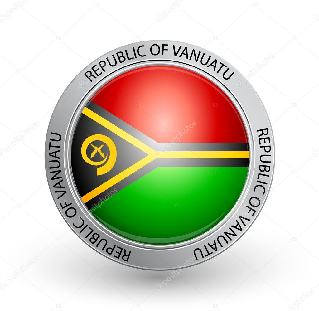 Vector illustration of a badge with the flag of  Republic of Vanuatu — Stock Vector #6613219