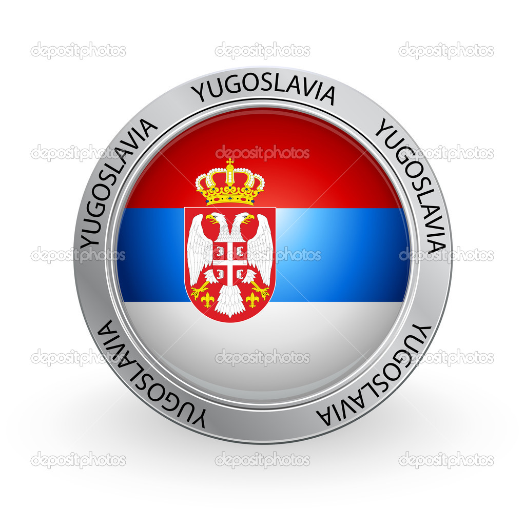 Vector illustration of a badge with the Yugoslavia flag — Stock Vector #6614322