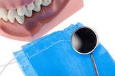 Espejo y molde dental — Foto de Stock