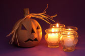 Pumpkin and candles — Foto Stock