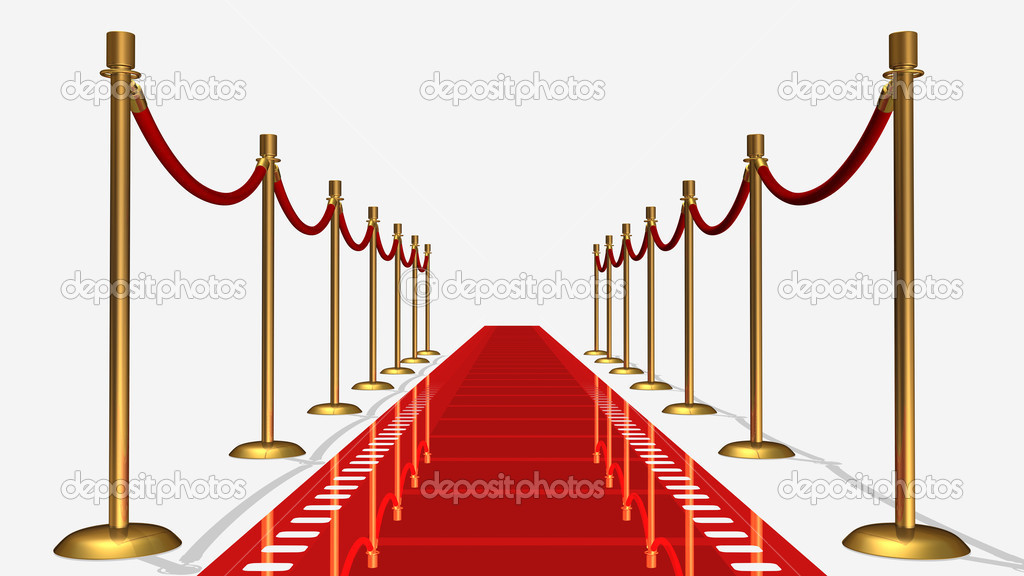 3D rendered film red carpet isolated in white background — Stock Photo #6186736