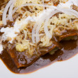 Mole enchiladas close-up - Stock Photo