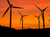 Wind turbines in sunset 1 — Stock Photo