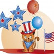 Stok Vektör: July 4th - Cat
