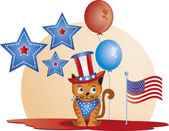 July 4th - Cat — Stok Vektör