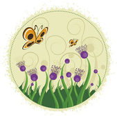 Purple flowers and butterflies. — Stock Vector