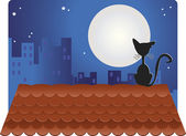 Black Cat on roof. — Stock Vector