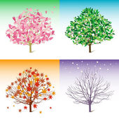 Vector tree illustration, spring, summer, winter, autumn — Stock Vector