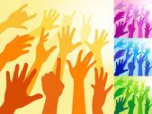 Raised Hands — Stock Vector