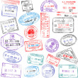 Stock Vector: Passport Stamps